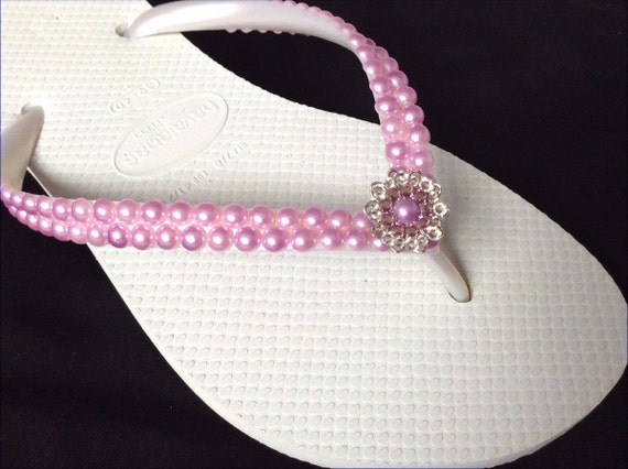 Havaianas Slim Violet Purple Pearl Flip Flops Light Amethyst Lavender Lilac w/ Swarovski Crystal Silver Filigree Bridal Beach Wedding shoe