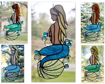 Stained Glass Mermaid Panel, Beach Decor, Glass Art, Custom Colors