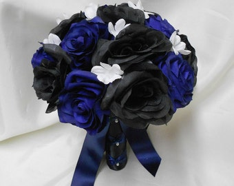 Wedding Silk Flower Bouquet Your Colors 2 pieces Black Navy blue White Stephnotis Bride's Bouquet  with Groom's  Boutonniere FREE SHIPPING