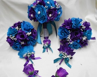 Wedding Silk Flower Bridal Bouquet Package Purple Teal Green Bride BridesmaidsToss Bouquets Boutonnieres Corsages FREE SHIPPING