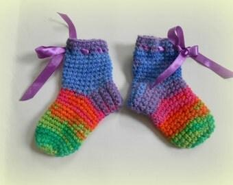 Crochet baby socks, toddler socks, rainbow socks, colorful socks