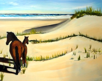 Horses on Outer Banks Beach Framed Seascape Original Painting 18 x 24""