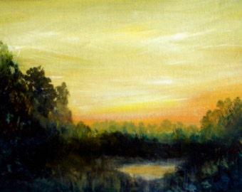 "Wetlands Sunrise 5 x 7"" Framed Original Oil Painting Eastern Shore"
