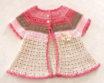 Crochet PATTERN: Isabelle Cardigan ALL SIZES from newborn to 12 months