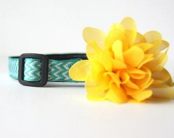 Light Yellow Chiffon Flower Dog Collar Attachment
