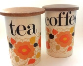 Tea or Coffee Canister Crown Devon 'Carnaby' Daisy Designed by Mary Quant- Vintage Retro 1960's Tableware- Flower Power Mid Century Jar
