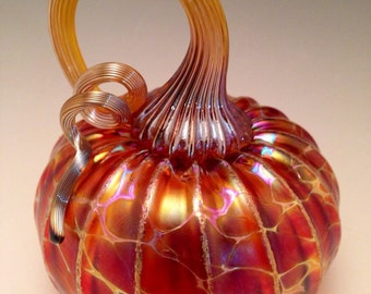 Jack Pine Studio Hand Blown Glass Pumpkin Mini Gold Ruby (50320)
