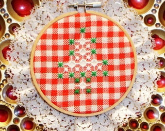 "Hoop Art Holiday, Needlepoint Sampler, Hand made, Holiday decor, Holiday country decor, 6.5"" round, Vintage holiday, Cross stitched"