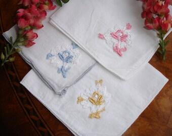 Hankies, Handkerchiefs, set of three, Ladies hankies, Bridesmaids, Linen hankies, 1960s accessory, Girls hankies, Vintage accessory