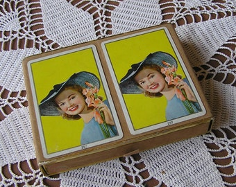 Vintage Fashion Lady Playing Cards . Double Deck .
