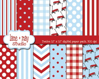 digital scrapbook papers - little red wagon in red and baby blue - INSTANT DOWNLOAD