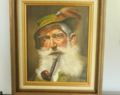 Beautiful Vintage German Original Oil Painting ,Vintage Fine Art Oil Portrait,  Okreno signed oil painting - Vintage German man with pipe