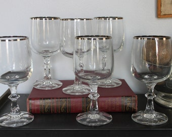 Silver Striped Crystal Wine Glasses, Set of 6 Mid Century Bar ware, 6 silver stripe wine glasses, 6 vintage wine glasses ornate stems