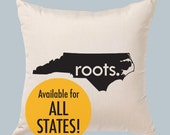 """All States and Washington DC 'Roots' or 'Made' 14""""x14"""" Canvas Pillow Cover"""