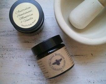 Australian Mandarin, Australian Sandalwood, Vanilla, Organic Shea Hand and Body Cream