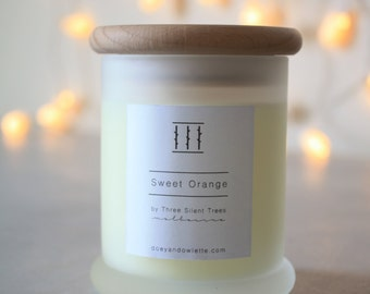 Three Silent Trees | Sweet orange soy candle | small frosted tumbler