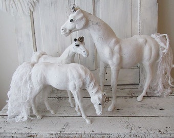 White horse statues family grouping of 3 French Nordic painted antique horses embellished in tattered lace tails crowns anita spero design