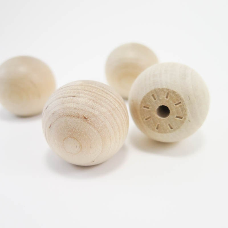 4 Wooden Knobs Inch Wood Ball Knob Unfinished Wood Drawer Pull Furniture Feet Finials