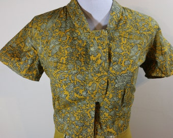 1950s upcycled cotton yellow dress