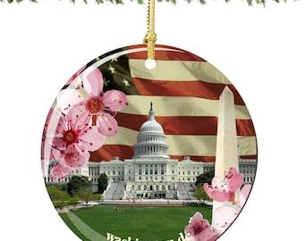 Washington DC Christmas Ornament, Porcelain Christmas Ornaments Featuring Landmarks, US Capital, Washington Monument and Flag