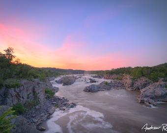 Great Falls Sunset - Great Falls Park Virginia - Potomac River - National Park Service - Waterfall - Washington DC - Mather Gorge