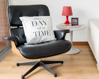 One day at a time - Decorative Cushion Cover by [LOVE TO BE] 17.7 x 17.7 inch 100% Cotton Inspirational Bedding + Home Décor - Handprinted