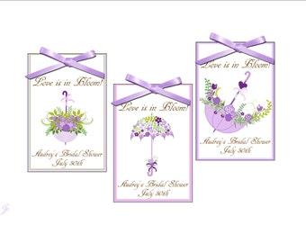 Blooming Umbrellas Bridal shower seed packet favors - wedding favor, bridal shower favors, - set of 12