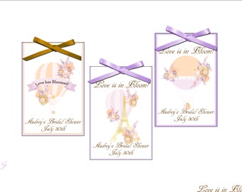 Bridal shower seed packet peach and lavender parisian air balloon themed favors - wedding favor, bridal shower favors, - set of 12