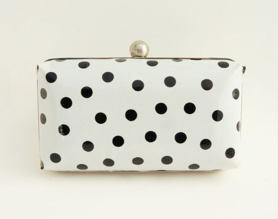 Black & White Polka Dot Rainy Day Clutch Handbag - Bridesmaid/Evening/Prom/Vintage Style Minaudiere Purse - Includes Chain - Made to Order