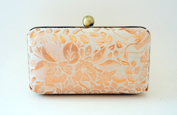 Ivory & Rose Gold Bridal Minaudiere Box Clutch - Love Letters Lining - Evening/Bridesmaid - Includes Chain - Made to Order