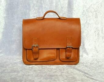 VINTAGE MENS MESSENGER Bag Leather Laptop Bag Leather Briefcase Tobacco Color Mens Bag Mens Messenger Bags Leather Messenger Handbag