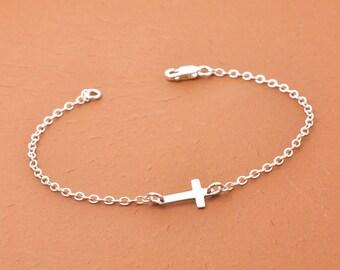 Tiny Sideways Cross Bracelet, Sterling Silver Cross Bracelet, Tiny Cross Bracelet, Religious Gifts, Christian Jewelry, Confirmation Gift