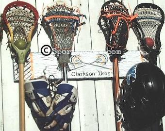 Lacrosse Decor Sports Equipment Hanger Organizer Lax Player Gift Back To School Team Colors Sports Theme Art SportyRacks Personalized Team