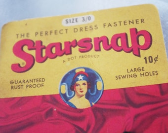"Vintage Sewing Notions: 1940s Snaps ""Starsnap""  Great Graphics"