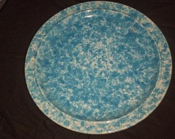 Vintage Splatter Blue Platter / Tray.  Homer Laugher Large  Platter,Farm House  Turkey Platter.