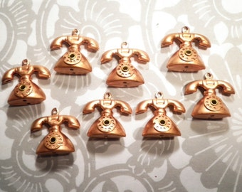 8 Copper Coated Moveable Telephone Charms