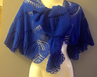 Hand knitted blue shawl