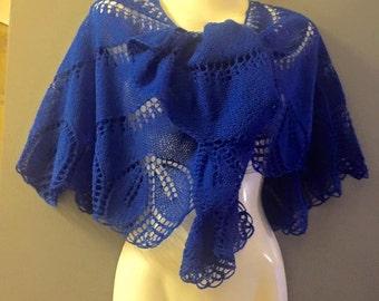 Blue shawl knit hand