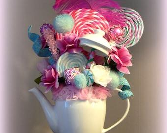 Tea Party Centerpiece Tea Pot Floral Arrangement Pink and Blue Whimsical Decor