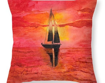 Gift Idea Red at Night, Sailor's Delight Sailboat in Sunset Decorative Pillow