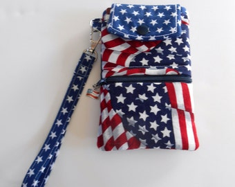 Cell Phone Wallet Wristlet Designer Cotton Lined American Flag Stars & Stripes--Made to Order