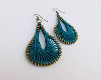 Steampunk Teal Earrings - Teal Zipper Earrings - Peruvian Thread Earrings - Dangle Earrings