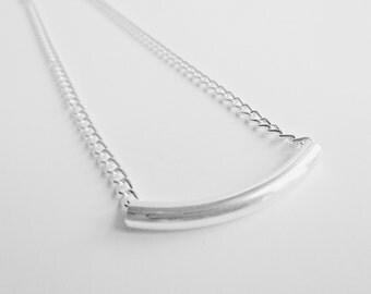 Silver Bar Necklace - Silver Necklace - Silver Chain - Silver Jewelry