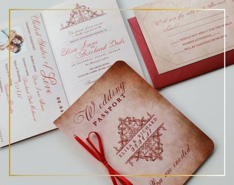 Vintage Passport Wedding invitation - Wedding invitation passport sample {Dorchester - New collection 2016}