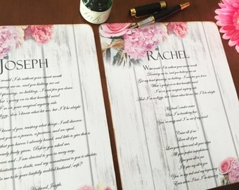 Wedding Vows, His and Her vows, personalized words for wedding commitment to each other.