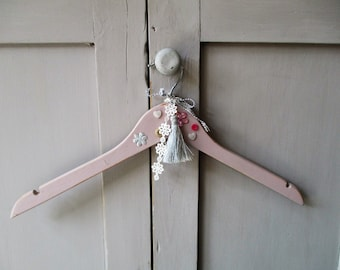 Hand Painted Vintage Style/Shabby Chic Dress Hangers - Rose Pink