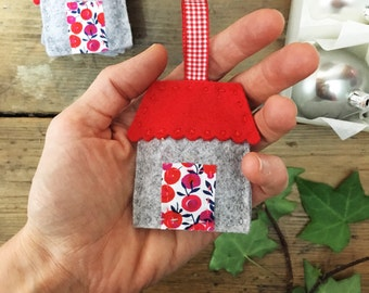 Handstitched Christmas house decoration - felt ornament - liberty art fabric door - gingham ribbon hanger - Christmas ornament