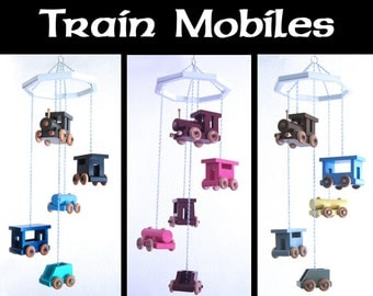 Colorful Train Mobile with 5 different pieces - Upcycled Wood