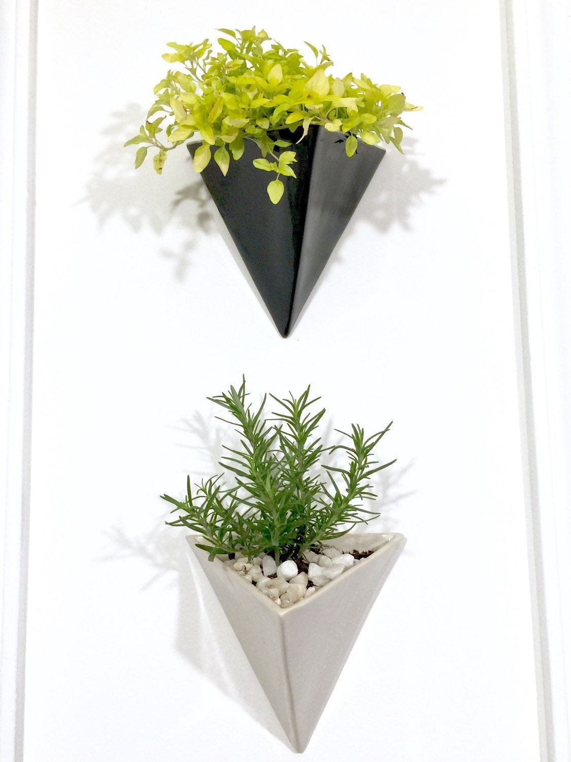 pyramid wall planter modern mid century home decor made to