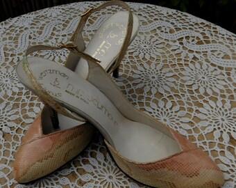 Vintage 80s Stuart Weitzman Mr. Seymour Snake Skin Slingback Shoes Pumps 6.5 7